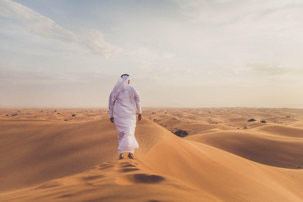 Man alone in desert